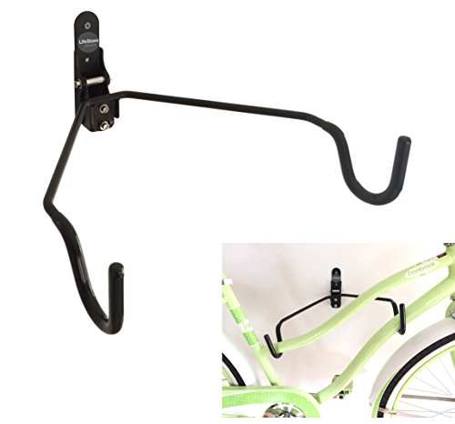 LifeStore Adjustable Bike Rack Wall Mount,100% Solid Steel Bicycle Storage Stand Hanger for Indoor, Garage, Soft Rubber-Coated Hooks, Mounting Screws Included, Heavy Duty Wall Mount Bike Stand ()