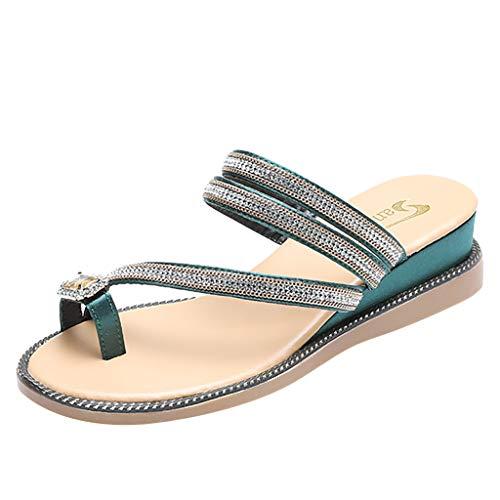 Bouquets Womens Dress Sandals - Tantisy ♣↭♣ Women Bling Rhinestone Pearl Flat Gladiator Sandals Toe Ring Dress Shoes Green