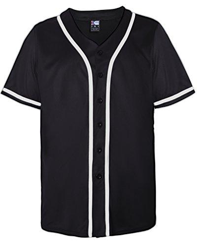 MOLPE Button Down Baseball Jersey (L, Black/White-2) ()
