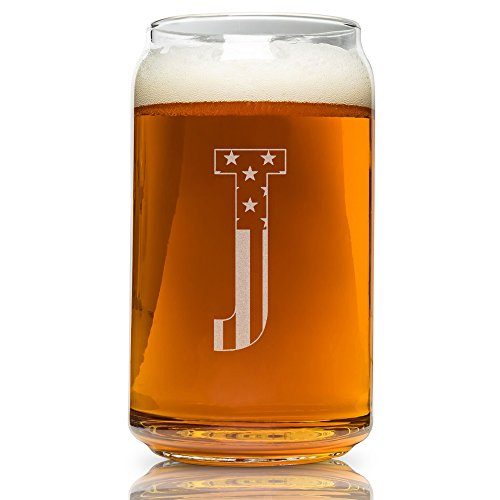 - J-Monogram- Engraved Beer Can Glass- USA Flag Design- 16 Ounce Capacity