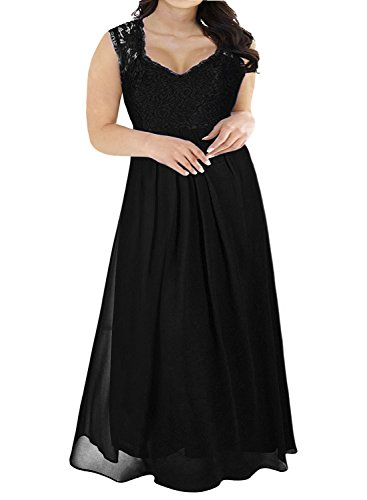 Nemidor Women's Deep- V Neck Sleeveless Vintage Plus Size Bridesmaid Formal Maxi Dress (22W, Black)
