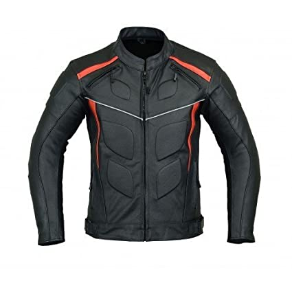 e2697d4d7 MOTORCYCLE ARMORED LEATHER JACKET BLACK WITH RED STRIPS ARMOR LJ-4009 L