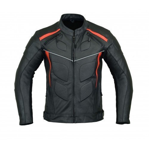 MOTORCYCLE ARMORED LEATHER JACKET BLACK WITH RED STRIPS ARMOR LJ-4009