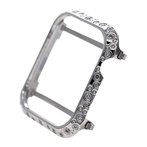 NICERIO Compatible Apple Watch Series 4 Case, Sparkle Diamond Metal Frame Aluminum Alloy Cover Protective Bumper iWatch Bezel Compatible Apple Watch Series 4 Sport Edition (44mm Silver)