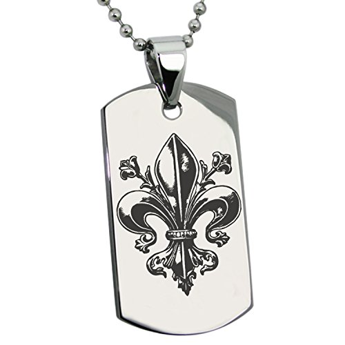 Tioneer Stainless Steel Antique Fleur De Lis Symbol Engraved Dog Tag Pendant Necklace ()