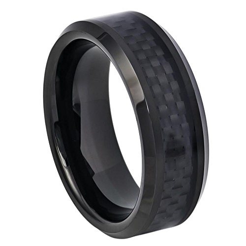 Men's 8mm Beveled Edge Black Ion Plated High Polished Wedding Band with Black Carbon Fiber Inlay Center Finish Comfort Fit Tungsten Carbide Anniversary Ring -s15