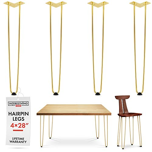 28 Inch Gold Hairpin Legs -4 Easy to Install Metal Legs for Furniture -Mid-Century Modern Legs for Dining and End Tables, Chairs, Home DIY Projects + Bonus Rubber Floor Protectors by INTERESTHING Home ()
