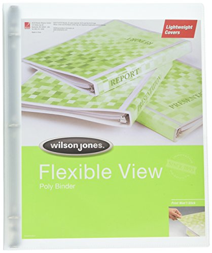 Wilson Jones Print Won't Stick Flexible Poly Round Ring View Binder, 60 Sheet, Letter Size, Customizable, Clear (A7043335DA)