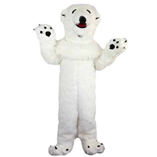 White Polar Bear Mascot Costume Cartoon Character Adult Sz Real Picture