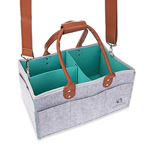 GoBabaGo Baby Diaper Caddy: Portable Storage Organizer, Baby Shower Gift, Diaper Tote Bag/Bin for Nursery, Changing Table or Car, with Change Mat