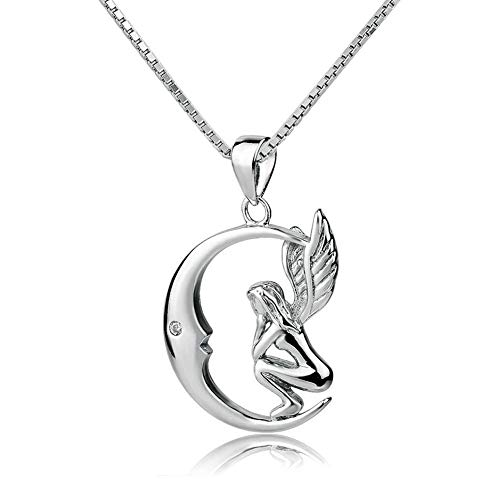Infinite Memories Angel Wing Moon Pendant Crystal Necklace 925 Sterling Silver for Women Gifts ()