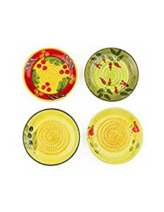 Ceramic Garlic Grater 4 Pack - Red, Green, Yellow Apple & Yellow Olive