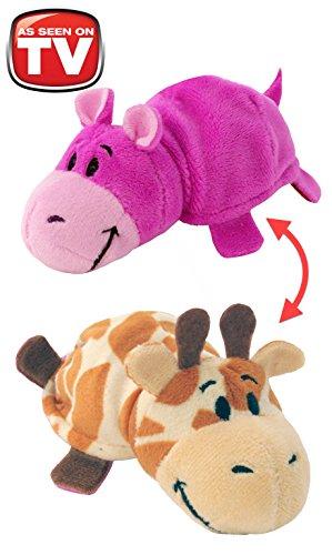 FlipaZoo 5-Inch Baby FlipZee with 2 Sides of Fun for Everyone (Giraffe / Hippo)
