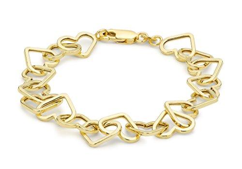 "Jewellery World Bague en or jaune 9carats coeur Link Bracelet maille jaseron 19cm/7,5"""