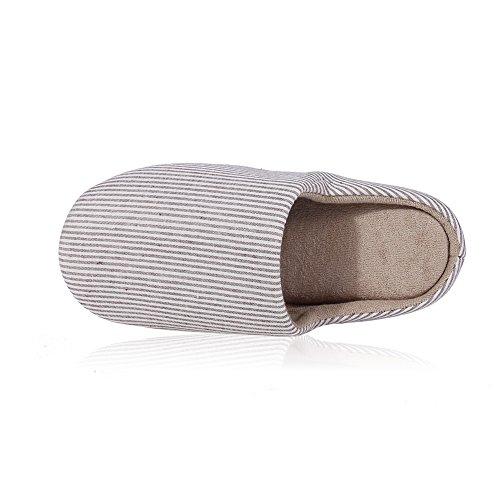 Buganda Classic Soft Stripe Huis Antislip Suede Zool Slippers Wasbaar Op Unisex Indoor Slippers Koffie
