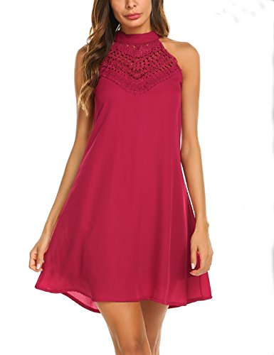 Sweetnight Womens Halter Neck Chiffon Tunic Tank Dress T Shirt Dresses (Red, L)
