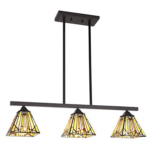 VINLUZ 3 Lights Kitchen Island Chandeliers Lighting Modern Tiffany Style 6-inch Stained Glass Shade, Vintage Hanging Pendant Lights Mission Ceiling Light Fixtures for Dining Room Living Room Bedroom (Tiffany Style Kitchen Lighting)