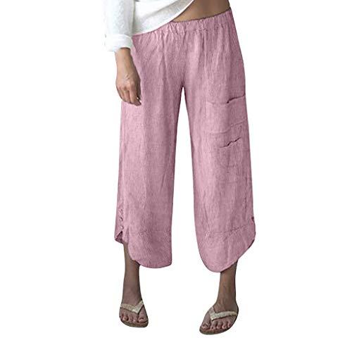 TOTOD Pants for Women Plus Size Stripe Pocket Wide Leg Leggings Cotton Linen Cropped Trousers Red
