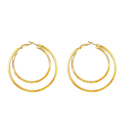 FOCALOOK Hoop Earrings Surgical Stainless Steel Fashion Jewelry 18k Gold Plated Geometric Metal Statement 60MM Large Double Circle Round Huggie Hoop Earrings for Women Girls