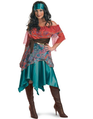 Gypsy Costume For Women (Disguise Unisex Adult Bohemian Babe, Tourquoise/Red/Blue, Large (12-14) Costume)