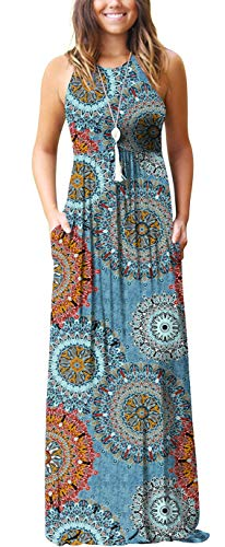 GRECERELLE Women's Casual Loose Long Dress Sleeveless Floral Print Maxi Dresses with Pockets Mix Blue-L (Dress Women Size 14)