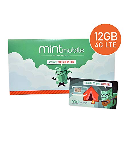 $25/Month Mint Mobile Wireless Plan | 12GB of 4G LTE Data + Unlimited Talk & Text for 3 Months (3-in-1 GSM SIM Card) (Best Prepaid Mobile Hotspot Plans)