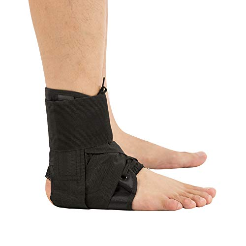 Ankle Brace with Strap, Ankle Stabilizer Support Lace Up Brace for Pain Relief, Injury Recovery, Strain or Sprain XL