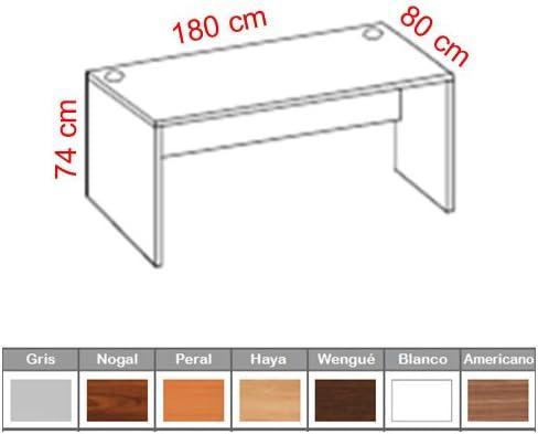 Mesa de Oficina. Euro 2000. Color Nogal. 180x80 cm: Amazon.es: Hogar