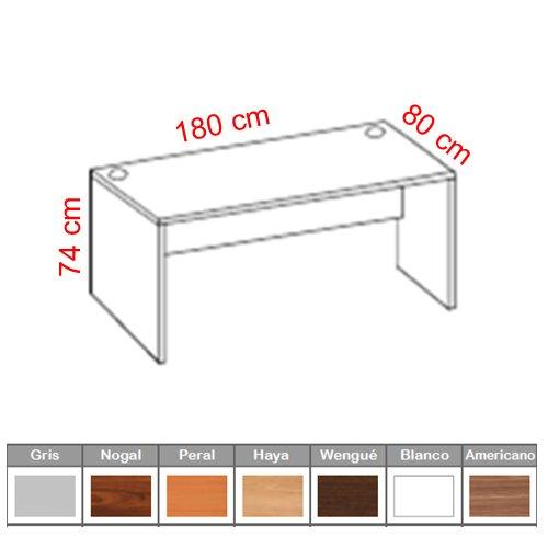 Mesa de Oficina Euro-2000 180x80 cm Color Nogal Americano