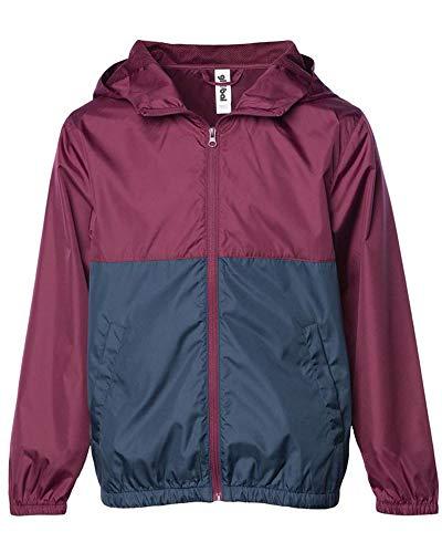 Global Kid's Hooded Lightweight Windbreaker Rain Jacket Water Resistant Shell (Medium, Navy/Maroon) by Global Blank