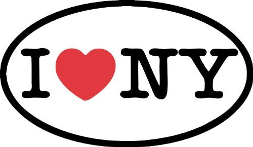 Sticker / Decal - JDM - Die cut - I Love NY Bumper Sticker Heart New York Oval Car Decal 127mmX76mm -