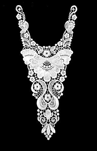 White Embroidery Trim Neckline Collar Applique Fabric Cloth Sew On DIY Craft (Style B)
