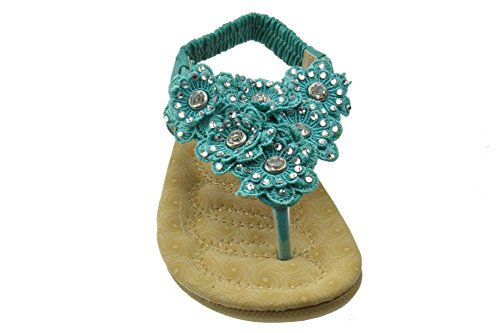 Rhinestone Mint 67K Gladiator Girls Flat Floral Calista Comfort Sandals Little Afzxw7X