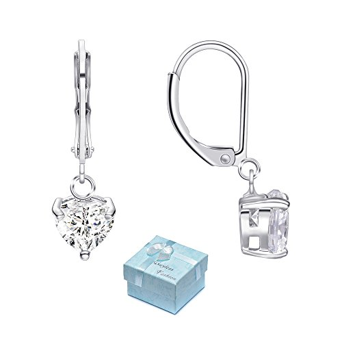 Buyless Fashion Hypoallergenic Surgical Steel Leverback Earring with Dangle Heart CZ (Styled Dangling Earrings)