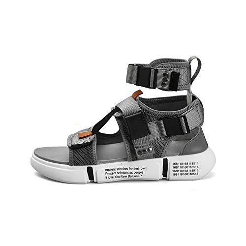 Summer Men Shoes Gladiator Sandals Open Toe Platform Beach Boots Rome Style Canvas Sandals,Gray,8 ()