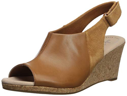 CLARKS Women's Lafley Jess Wedge Sandal, tan Leather/Suede Combi, 070 W US