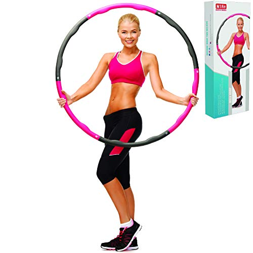 N1Fit Hula Hoop - The Original Adjustable Hula Hoops for Adults Blats Calories and is Foam Padded Weighted Hula Hoops Perfect for Exercise, Slim Waist, Weight Loss(2LB) Ideal Hula Hoop for Kids