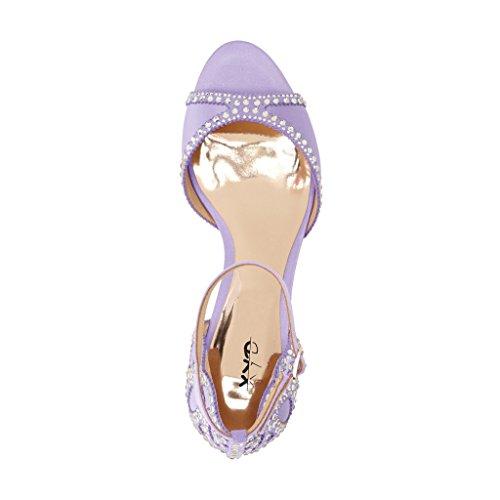 Xyd Ballroom Dansesko Bryllup Sandaler Pumps Med Rhinestones Ankelrem Peep Toe Hæle Til Kvinder Lys Violet 1O0ui