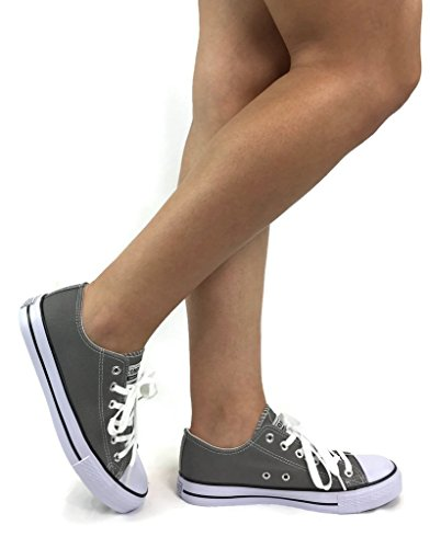 The Collection Taylor Lo-Top Sneakers Womens Canvas Sports Shoes Grey mTXhKq