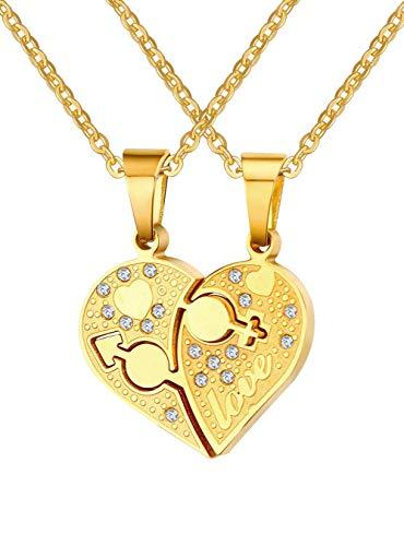 UMtrade Acero inoxidable Cristal Masculino Hembra Amor Corazón Puzzle Colgante Parejas Collares
