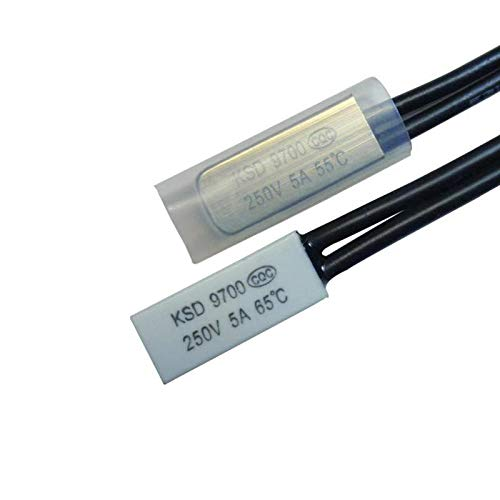 XIXI 5PCS Ceramic Thermostat KSD9700 40C 45C 50C 55C 60C 65C Bimetal Disc Temperature Switch Thermal Protector Degree]()