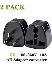 (2pcs) CE Universal Travel Power Plug Adapter AU Australian to USA EU Euro UK Slim 3Pin –Black