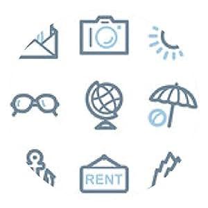alfombrilla de ratón Los iconos de viajes, línea azul serie de contorno - ronda - 20cm