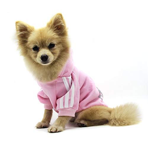 QiCheng&LYS Adidog Pet Clothes,Dog Winter Hoodies Apparel Puppy Cute Warm Hoodies Coat Sweater for Dog Cat (XS, Pink)