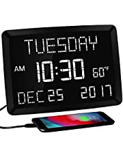 """11.5"""" Digital Wall Clock,Large Calendar Day Clock,Impaired Vision LED Desk Alarm Clock with 3 Alarms,Date,Temperature,5 Dimmer,2 USB Chargers,DST,12/24H,Loud Plug in Seniors Clock Battery Backup for Living Room Bedroom,Elderly Memory Loss Kids Teens Boys Girls"""