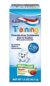 Aquafresh Training Toothpaste for 3 - 24 months, Apple-Banana Flavor. 1.5-Ounce (Pack of 3)