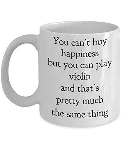 Gift Concerto Coffee (Concerto Violin Mug You Can't Buy Happiness But You Can Play Funny Gift Idea For Fiddle Orchestra Viola Musician Violins Teacher Musical Instrument Player Orchestra Band Cozy Novelty Coffee Tea Cup)