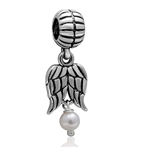 Angel Wing Charms 925 Sterling Silver Feather Pendant Dangel Christian Charm for Pandora Charms Pearl Charm Bracelet