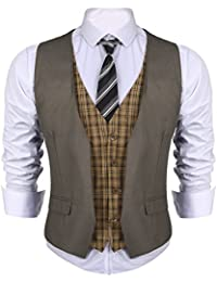 Men's Dress Suit layered Vest V Neck Plaid Patchwork Wedding Waistcoat