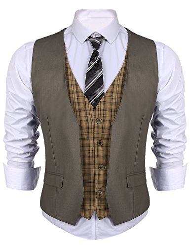 JINIDU Men's Suit Vest V Neck Skinny Layered